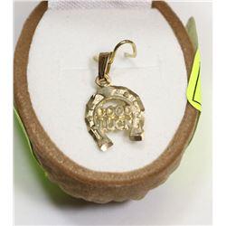 127) 10K YELLOW GOLD HORSE SHOE SHAPED PENDANT