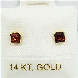 148) 14K YELLOW GOLD GARNET EARRINGS