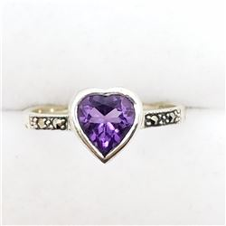 157) STERLING SILVER AMETHYST MARCASITE RING