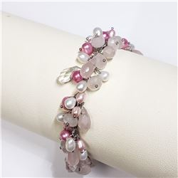 168) STERLING SILVER DYED PINK PEARL BRACELET