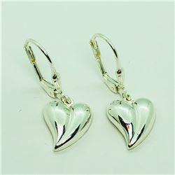 187) STERLING SILVER HEART SHAPED EARRINGS