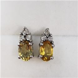 188) STERLING SILVER CITRINE AND DIAMOND EARRINGS