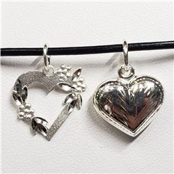 197) STERLING SILVER 2 HEART PENDANT NECKLACE