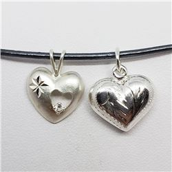 199) STERLING SILVER 2 HEART PENDANT NECKLACE
