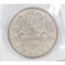 1981 CANADA CANOE DOLLAR COIN