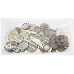 BAG OF 65 VINTAGE COINS.
