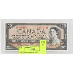 1954 CANADIAN $100 BILL.
