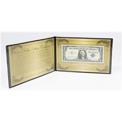 US $1 SILVER CERTIFICATE IN CASE AND COA.