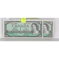 LOT OF 2 CANADA 1954 $1 BILLS,