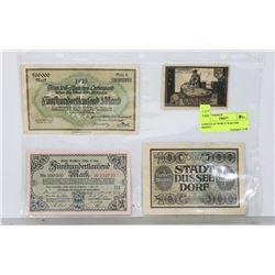4 PIECES OF WORLD WAR ONE MONEY.