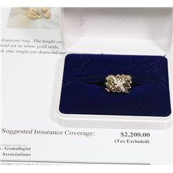 14KT YELLOW & WHITE GOLD DIAMOND RING SIZE 6.75 W/