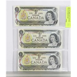SET OF THREE 1973 CANADIAN ONE DOLLAR SEQUENTIAL