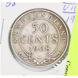 1908 NEWFOUNDLAND EDWARD VII SILVER 50 CENT COIN.