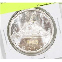 1966 CANADIAN SILVER DOLLAR COIN.