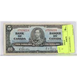 1937 CANADA $5 BILL