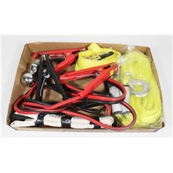 FLAT OF CAR & TRUCK ITEMS - TOW ROPE W/ HOOK &
