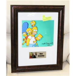 SIGNED MATT GROENING FRAMED PICTURE WITH COA