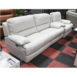 "NEW OFF WHITE GENUINE LEATHER 80"" SOFA  AND"