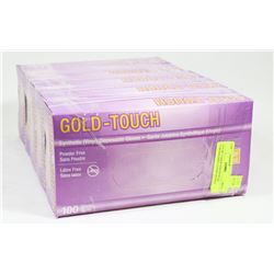 LOT OF 5 GOLD TOUCH SZ XL POWDER FREE LATEX GLOVES