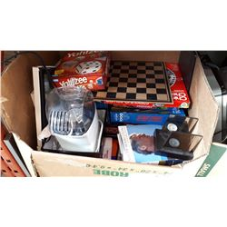 BOX OF BOARD GAMES AND POPCORN MAKER