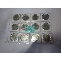 12 DIFFERENT CANADIAN VINTAGE COINS 1970 TO 1986