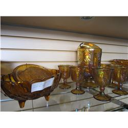 CARNIVAL GLASS PITCHER AND GOBLETS AND BOWLS