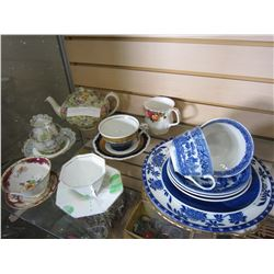 LOT OF CHINA CUPS AND SAUCERS, AND CHINTZ TEA POT