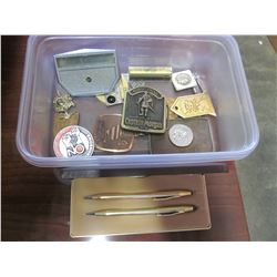 BELT BUCKLES AND PINS AND CROSS PENS
