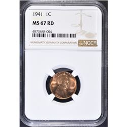 1941 LINCOLN CENT, NGC MS-S-67 RED