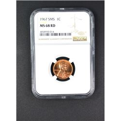 1967 SMS LINCOLN CENT NGC MS68RD