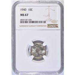 1940 MERCURY DIME NGC MS67