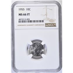 1955 ROOSEVELT DIME, NGC MS-66 FULL TORCH
