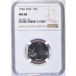 1966 SMS WASHINGTON QUARTER, NGC MS-68
