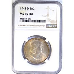 1948-D FRANKLIN HALF DOLLAR NGC MS-65 FBL