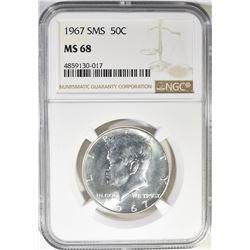 1967 SMS KENNEDY HALF DOLLAR NGC MS-68
