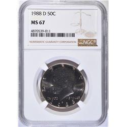 1988-D KENNEDY HALF DOLLAR, NGC MS-67