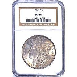 1887 MORGAN DOLLAR NGC MS64