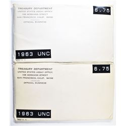 2-1963 U.S. MINT UNC SETS IN ORIG PACKAGING