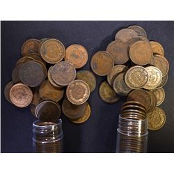 1902 & 1903 CIRC INDIAN CENT ROLLS 100-COINS TOTAL