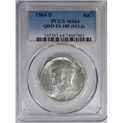 1964 D KENNEDY HALF DOLLAR PCGS MS64