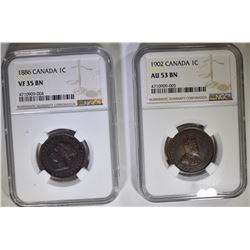 CANADA LG CENT LOT:  1886  NGC VF 35 BN