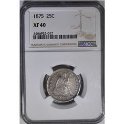 1875 SEATED QUARTER NGC XF 40