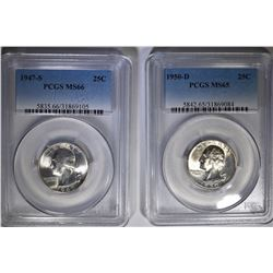 WASHINGTON QUARTER LOT:  1947 S PCGS MS66