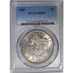 1887 MORGAN DOLLAR PCGS MS-64 COLOR ON REV.