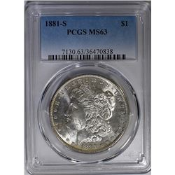 1881-S MORGAN DOLLAR PCGS MS-63 RAINBOW REV.