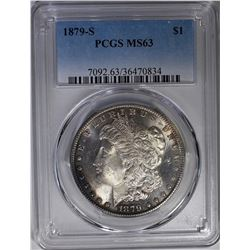 1879-S MORGAN DOLLAR PCGS MS-63 EDGE TONE