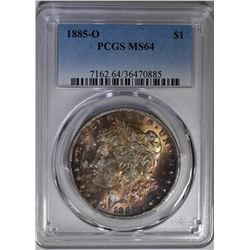 1885-O MORGAN DOLLAR PCGS MS-64 COLOR