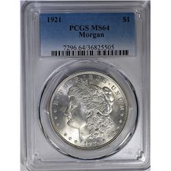 1921 MORGAN DOLLAR PCGS MS-64