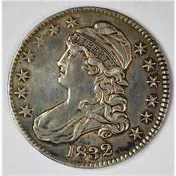 1832 BUST HALF DOLLAR, XF cleaned