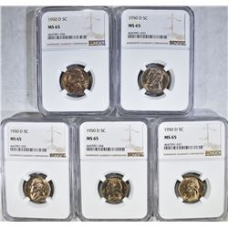 5 - 1950 D JEFFERSON NICKELS NGC MS65